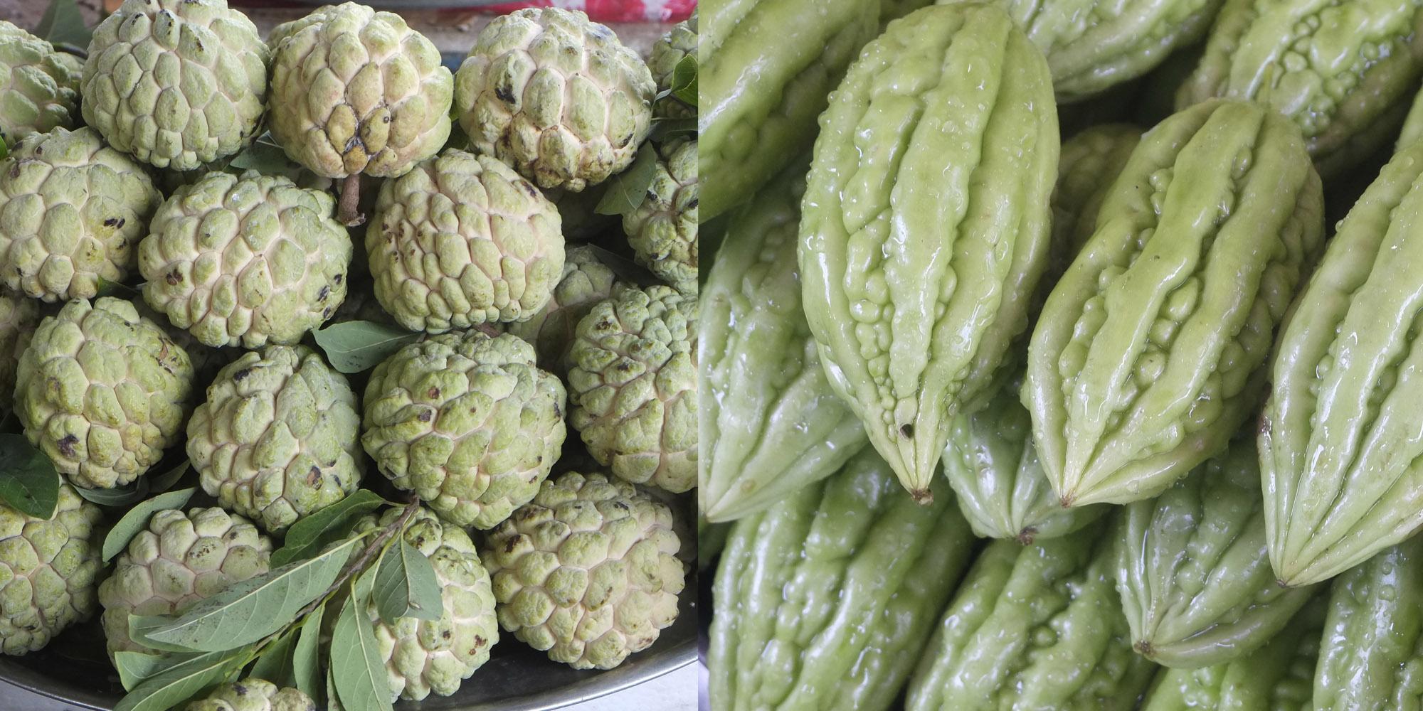 lk: custard apple, weißes Fruchtfleisch kann roh gegessen werden re: kein Name, kann roh als Salat gegessen werden