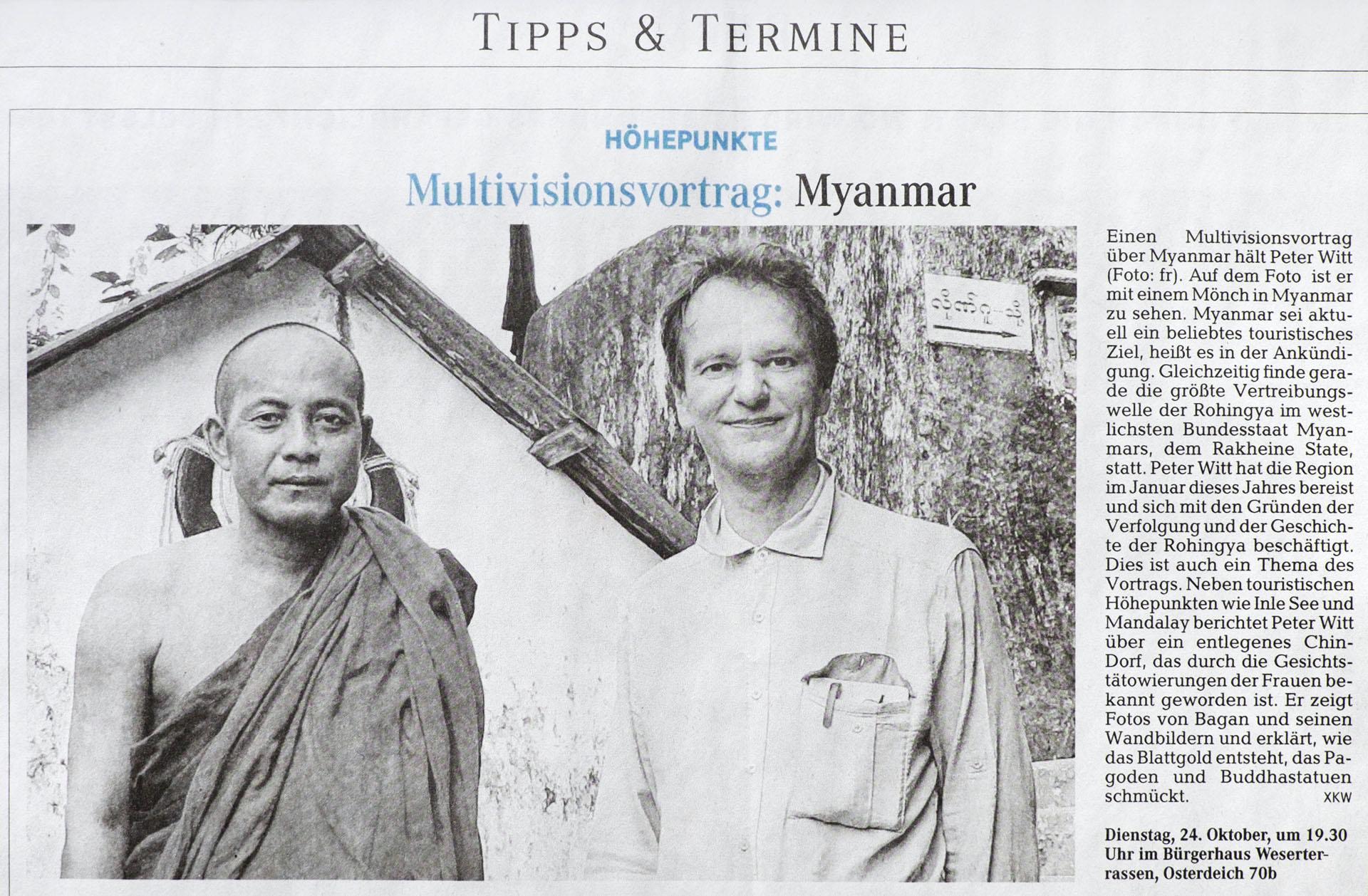 bremer weserkurier zu myanmar hautnah